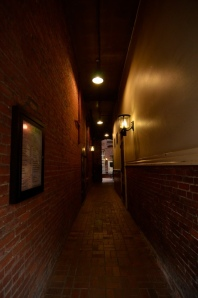 The passageway between Old Town Pizza and Hobo's Restaurant.