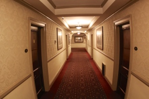 A hallway on the second floor of the Stanley Hotel.